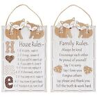 Woodland Fox House or Family Rules Hanging White Wooden Plaque/Sign