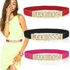 Stylish Women Lady Thin Skinny Metal Gold Buckle Waist Belt Elastic Waistband