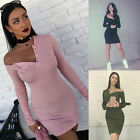 Vogue Women Sexy Long Sleeve Off Shoulder Bandage Knitted Cocktail Club Dress K