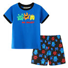 Pyjamas Baby Boys Summer Pjs Set (Sz 0-2) Blue Monsters Go Crazy Size 0 1 2