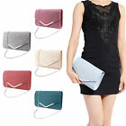 Glitter/Velvet Envelope Clutch Bag Flap Topped Metal Bar Shoulder Purse Handbag