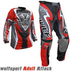 Wulfsport Attack Adult Race Sports Motorbike Motocross Shirts Pants Trousers Red