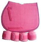PINK English All Purpose A/P or Dressage Saddle Pad & Polo Wraps NEW Horse Gift