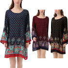 Women' New Fashion Scoop Neck Ethnic Paisley Printed Loose Fit Tunic Mini Dress
