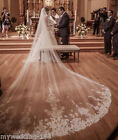 Luxury Cathedral Lace Edge Decals Wedding Bridal Veils Long Bridal Veil + Comb