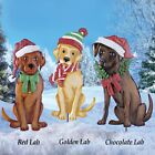 RED LAB Wintertime Christmas Holiday Dog Yard Garden Metal Lawn Stake New