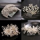 4 Type Charm Bride Crystal Pearl Hair Comb Wedding Party Fascinator Head Jewelry