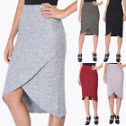 TheMogan Women's Contemporary Super Soft Sweater Knit Wrap Front Pencil Skirt