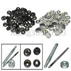 15Set Heavy Duty Poppers Snap Fasteners Press Stud Rivet Sewing Leather Craft US