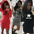 Hooded Hoody Sweatshirt Ladies Bodycon Hoodies Pullover Tunic Jumper Dress TXWD