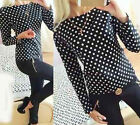 Fashion Women Polka Dot Casual Long Sleeve Loose Summer Chiffon T-shirt Tops Tee