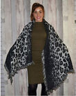 Women Leopard Print Shawl Scarf Large Winter Wrap Fringed Edge Check Scarves