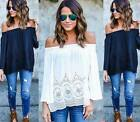 Summer ladys Off Shoulder Lace Strapless TShirt Loose Tops Blouse plus size hot
