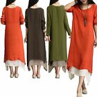 Women Summer Linen Cotton Vintage Boho Loose Long Sleeve Maxi Party Beach Dress
