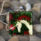 CHRISTMAS HOLIDAY UNICORN GLASS TILE PENDANT NECKLACE