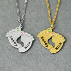 Personalized 2 color Engraved Baby Feet Pendant Necklace with Birthstones &Names