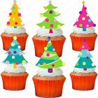 24 x CHRISTMAS TREE STAND UP PRECUT Edible Wafer Cupcake Toppers