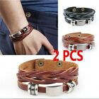 2Pcs Men Braided Leather Stainless Steel Cuff Bangle Bracelet Wristband Gifts