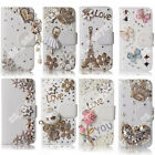 3D Bling Crystal Diamond Rhinestone Decorate Flip Wallet Case Cover For Samsung