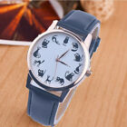 Fashion Women Watch Leather Stainless Steel Cat Dial Analog Quartz Wrist Watches