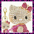 Rhinestone Crystal Pink Hello Kitty Purse Charms Keychains Bling Accessories lot