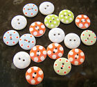 20 x Wooden Polka Dot Spots Buttons Shabby Chic 15mm - 2 holes - various colours