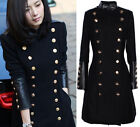 Punk Double Breasted Womens Slim Long Military Jacket Trench Outwear Coat S-XL