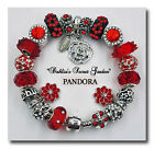 """""""Dahlia's Secret Garden"""" Red Authentic Pandora Sterling Silver Chain w/ Charms"""