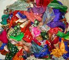 LOT PURE SILK Antique Vintage Sari Fabrics WEIGHT 100 GRAMS SIZES AS YOU #ABD3O