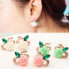 Hot Women Girl Cute Jewelry Rose Flower Crystal Rhinestone Stud Earrings