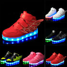 Boys Girls Colorful LED Light Up Sports Flats Sneakers Kids Party Luminous Shoes