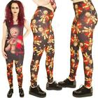 GOTHIC BLACK WITH VOODOO DOLL PRINT LEGGINGS  GOTH  ALTERNATIVE