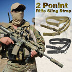 Tactical Two 2 Dual Point Adjustable Hunting Bungee Rifle Gun Sling System Strap