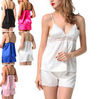 Women's Satin Sleepwear Lace Cami Set Babydoll Sleepwear Lingerie 2PCS Plus Size