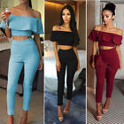 Sexy 2Pcs Womens Lady Off Shoulder Tops Jumpsuit Long Pants Trousers Sets S-XL