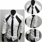 New Designer Luxury Shirts Mens' Casual Formal Slim Fit Long Shirt Top S M L XL