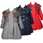 Girls Winter Coat with Dress Girls Grey Navy Red Formal Coat Dress Set 2 TO 8