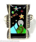 Multicolor & Fire Opal, Star, Moon Inlay 925 Sterling Silver Ring Size 6-10