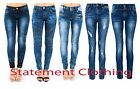New Women's Ladies Mid Rise Slinky Slim Fit Stretch Denim Jeans Trousers