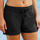 UK Women Full Coverage Swim Shorts Solid Color Drawstring Swimwear Stretchy FO
