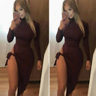 Women's Cocktail Party Dress Long Sleeve Clubwear Hollow Irregular High Split K