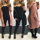 Women's Cut-Out Back Hooded Hoodie Midi Long Cardigan Trench Coat Zip Up Tops K