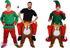 ELF RIDING REINDEER COSTUME FANCY DRESS FUNNY NOVELTY CHRISTMAS RIDE ON S-XXL