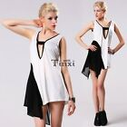 Womens Deep V-Neck Asymmetric Cocktail Evening Party Mini Dress Tank Tops TXWD