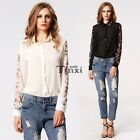 Women Casual Lapel Chiffon Splice Shirt Slim Long Sleeve Shirt Tops TXWD