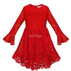 US XMAS Kid Girls Flower Christmas Dress Lace Birthday Party Bridesmaid Dresses