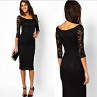 Womens Elegant 3/4 Sleeve Black Lace Patchwork Knee Length Dress Party Prom Gown