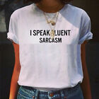"Women Summer Short Sleeve ""I SPEAK FLUENT SARCASM"" Letter Print T-shirt Tee Tops"