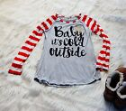 Baby It's Cold Outside Long Sleeve Top Striped Red Gray Gold Snowflake Holiday