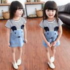 Striped Patchwork Cute Mouse Character Girl Dresses Short Sleeve Kids Clothing